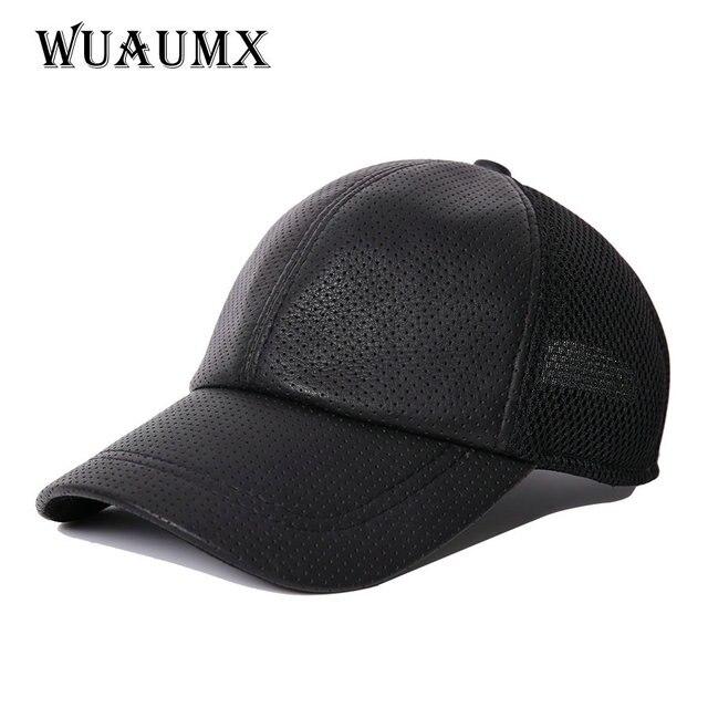 Wuaumx moda Cuero auténtico Gorras de béisbol para hombres mujeres malla  oveja cuero neto hip hop a9a0fd739f5