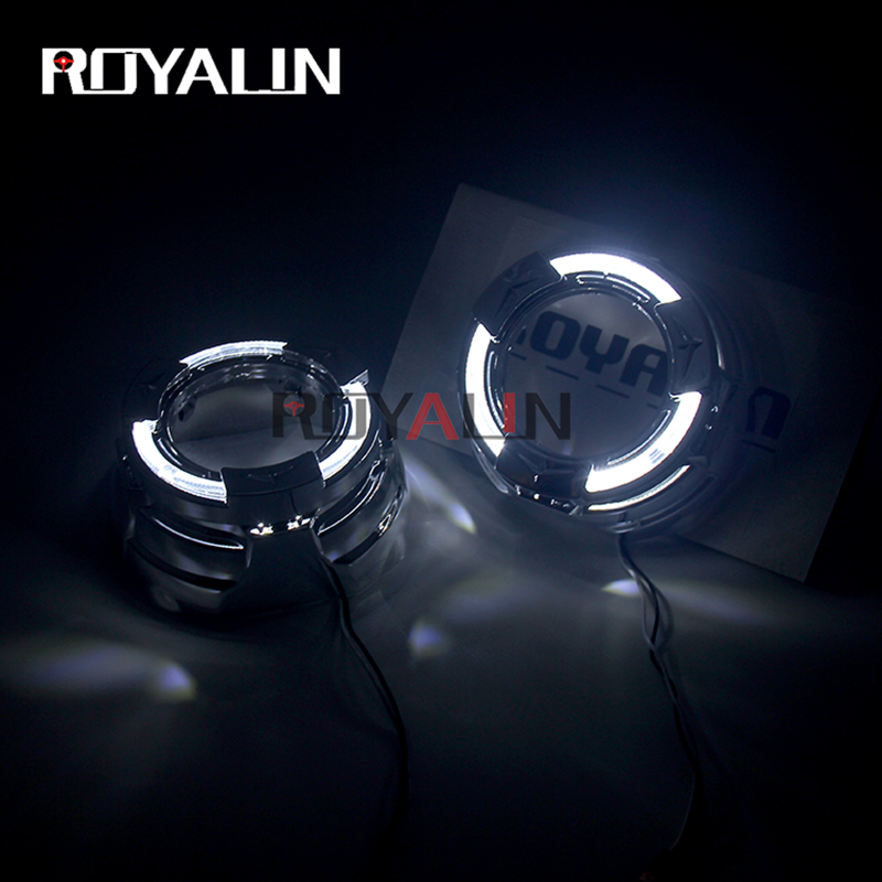 ROYALIN DRL Car LED Projector Lens Shrouds 3 0 Inch For Sports Quadrod Masks White Daytime