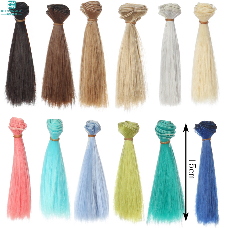 15x100cm Fashion Long Straight Hair Dolls Wig DIY Making Accessory Khaki