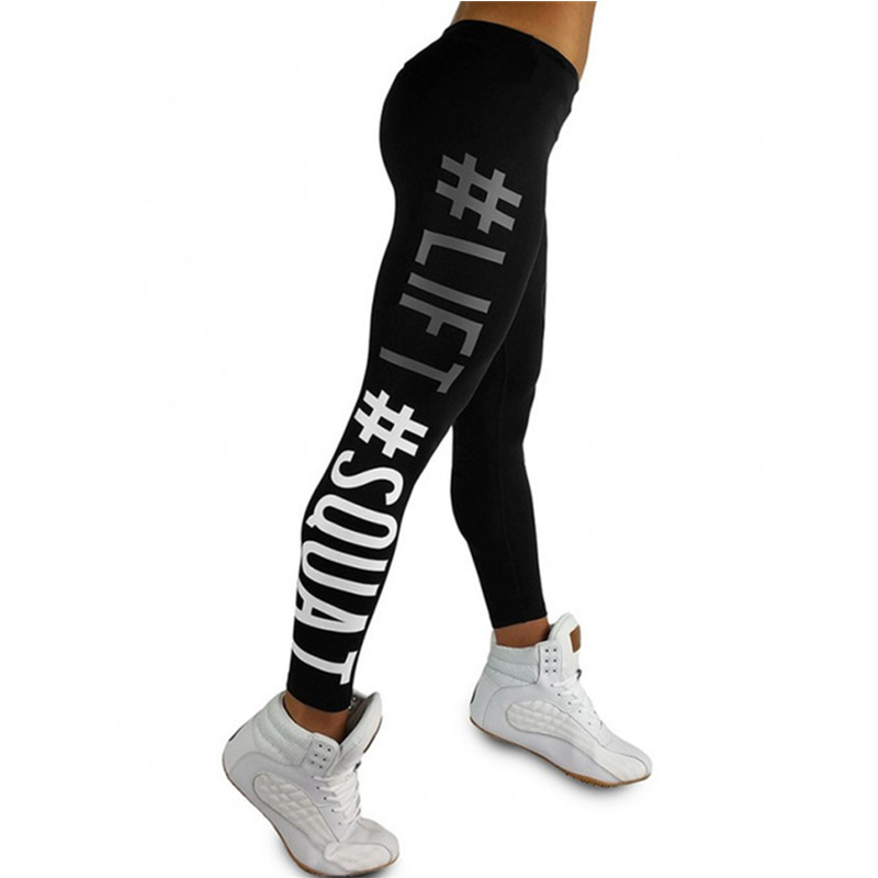 2018 fashion fitness clothes high waist solid color   leggings   ladies pants elastic letters printed Slim sportswear high quality
