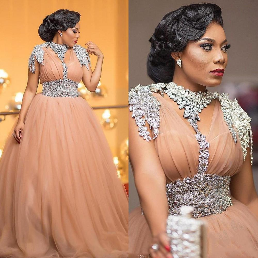 Plus Size 2019 Long Tulle Prom Dresses Saudi Arabic Luxury Crystals Beaded Sweep Train Evening Dress Custom Made Robe De Soiree