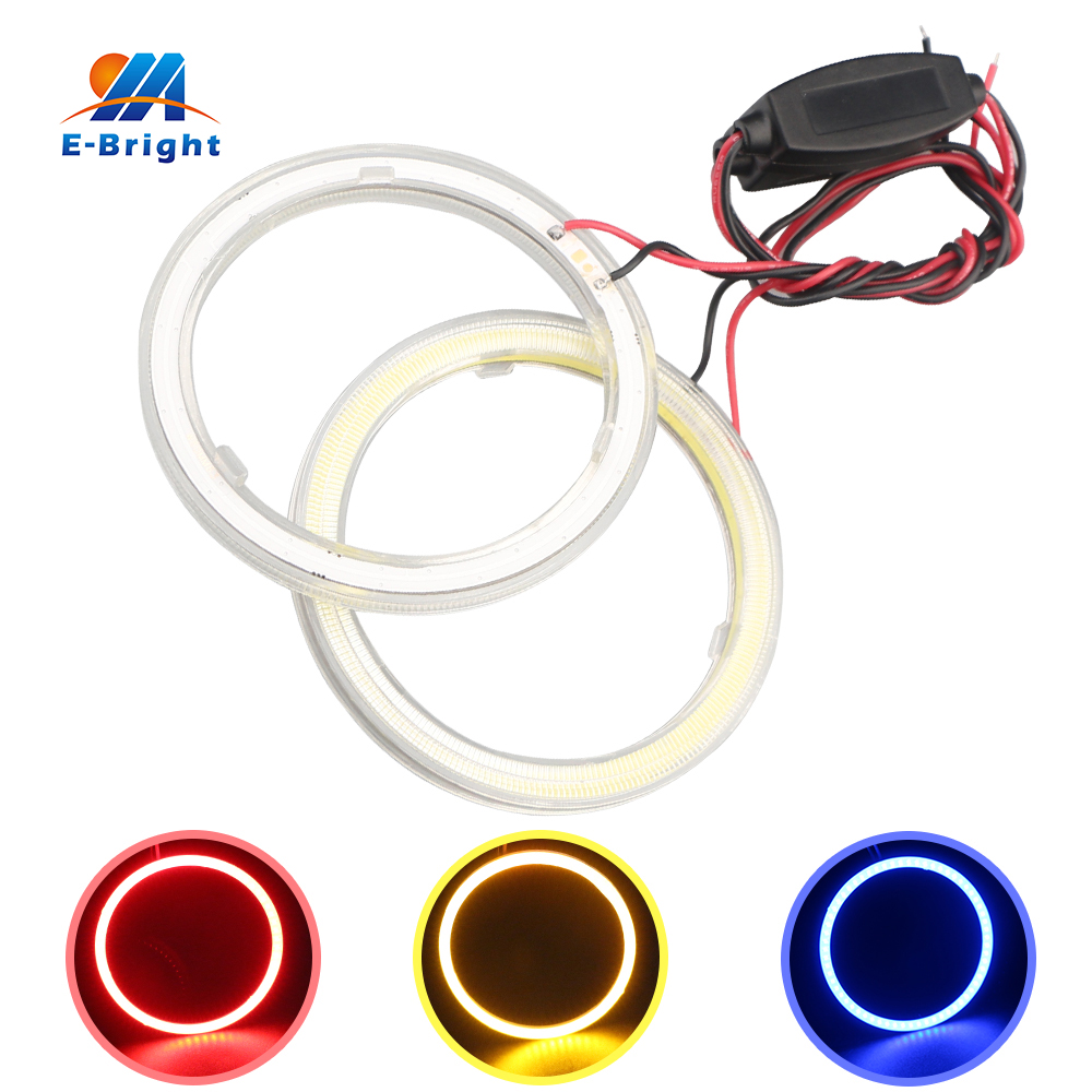 1 Pair 100 mm 9V-30V COB 72 SMD Colorful LED Car Halo Rings Lights LED Angel Eyes Car Headlights for Universal Cars 80 mm 12v cob car led angel eyes halo rings with lampshade 63smd halo anneau colorful led headlights white yellow red blue light