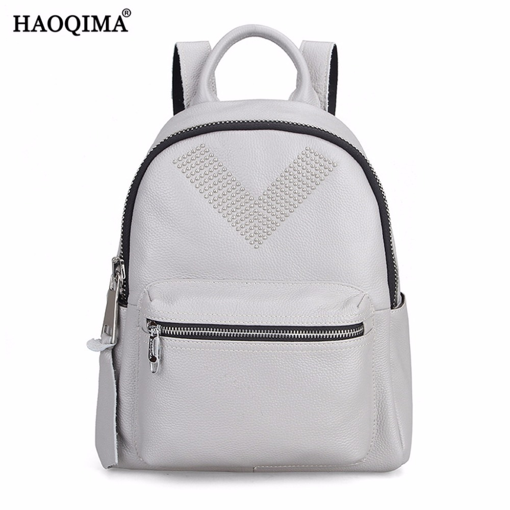 HAOQIMA Female Genuine Leather Real Cowhide Women Backpack Shoulder Bag Korean Backpacks For Teenagers Girls