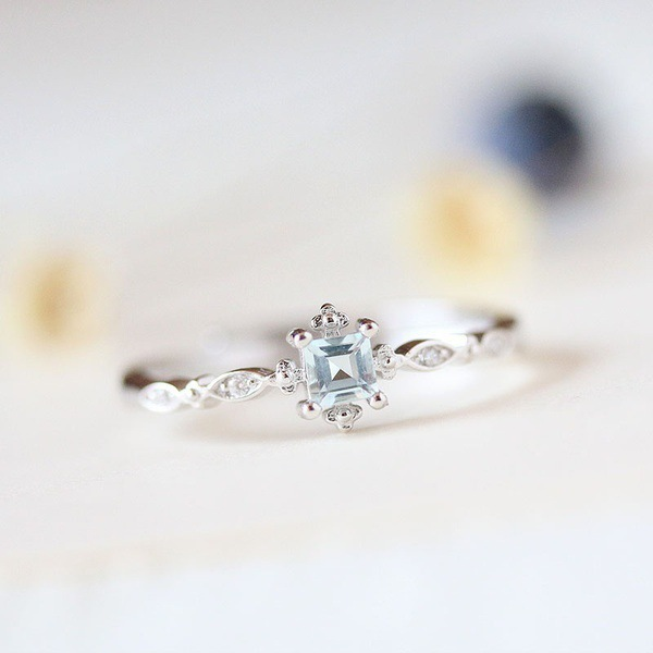 Light Blue Crystal Engagement Ring for Women