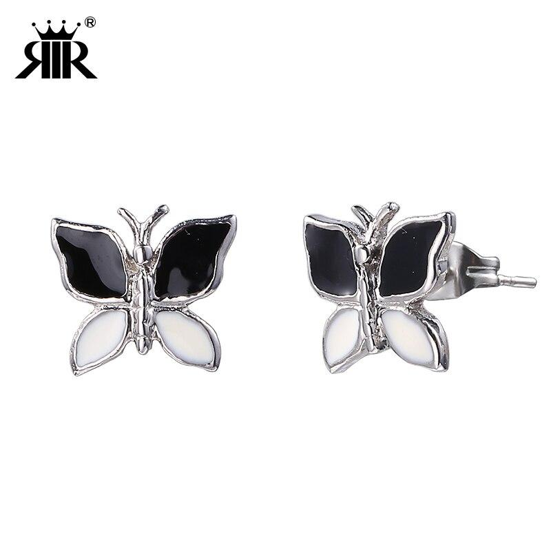 RIR Metal Black White Rhinestone Printing Butterfly Earrings Stud Earrings  Women Fashion Jewelry In Stainless Steel cb4152882d71