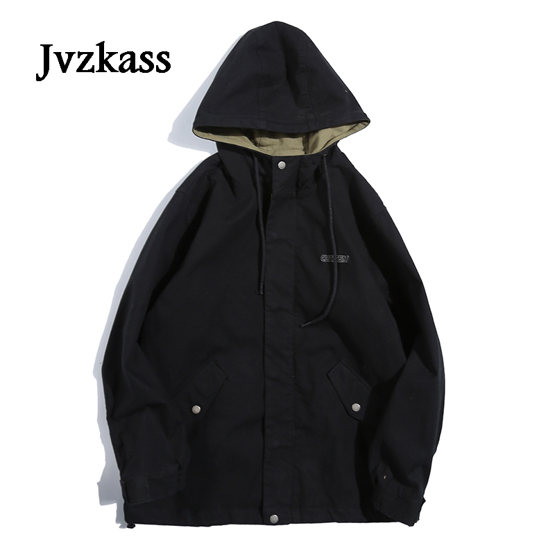 Jvzkass 2018 spring new wave Harajuku students hooded port wind jacket women spring and autumn loose neutral bf coat Z222