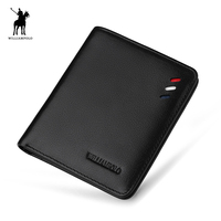 WILLIAMPOLO Short Genuine Leather Men Slim Thin Mini Wallet Male Small Purse Credit Card Holder Simple High Quality Male Wallets