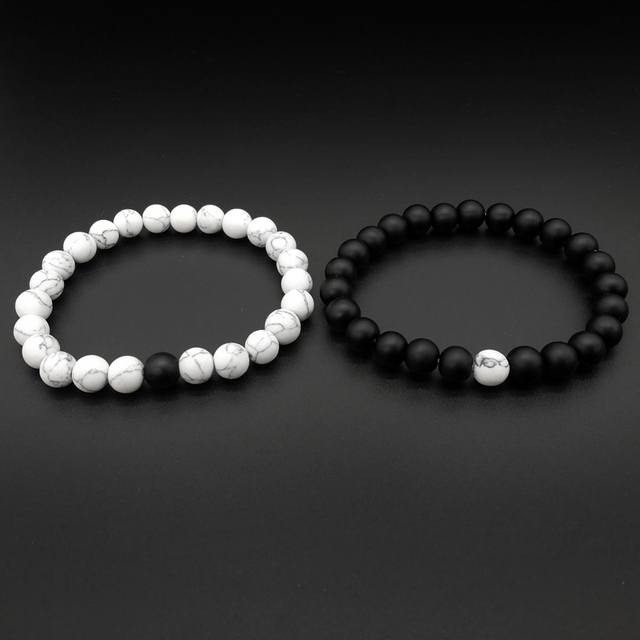 2Pcs/Set Bracelet Classic White and Black Yin Yang