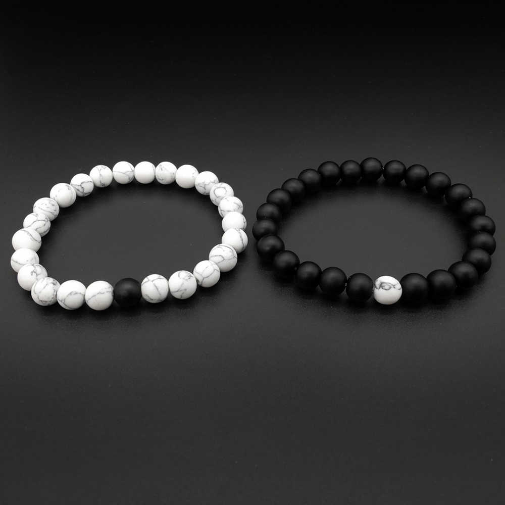 1-2Pcs/Set Couples Distance Bracelet Classic Natural Stone White and Black Yin Yang Beaded Bracelets for Men Women Best Friend
