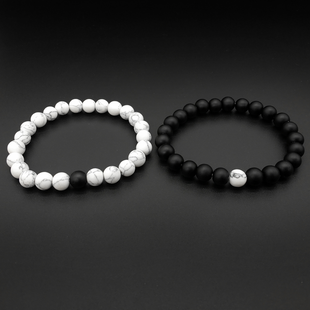 yin yang bracelet for couples 2pcs set couples distance bracelet classic 7376
