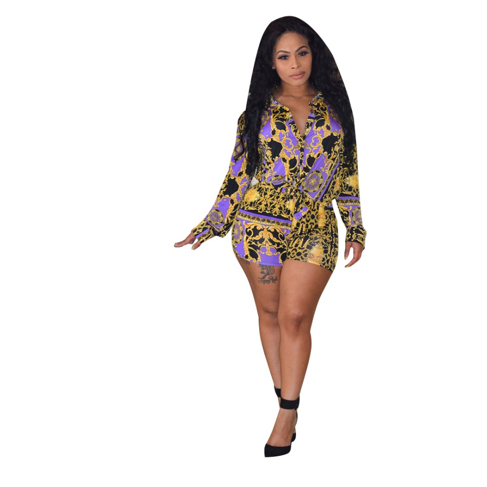 Fashion Two Pieces Set Women 39 s Long Sleeve Printed Blouses Top Shorts Causal women Summer chandal mujer 2 piezas tracksuit in Women 39 s Sets from Women 39 s Clothing