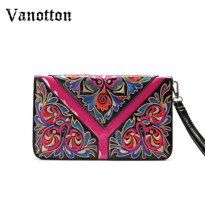 Leather Ethnic Embroidery Bag Women Messenger Bags Small Flap Ladies Clutches Famous Brands 2018 Women Handbags Embroidered Bags ethnic embroidered black cami dress for women