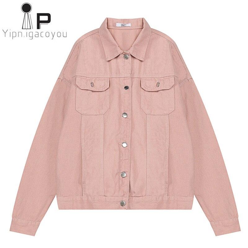 Fashion Denim Jacket Women White Pink Coat 2019 Autumn Large Size Harajuku Jeans Jacket Women Overcoat Casual Female Denim Coat