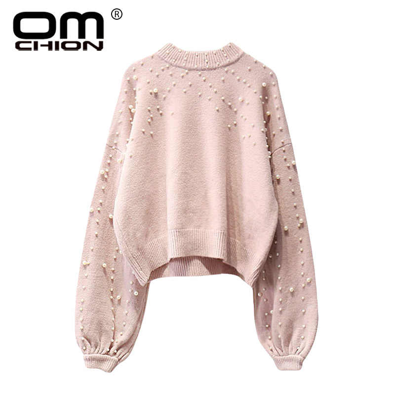9583c87da412 OMCHION Sueter Mujer Winter Clothes Women 2018 Fashion O Neck Lazy Pearl  Beading Sweater Loose Oversized
