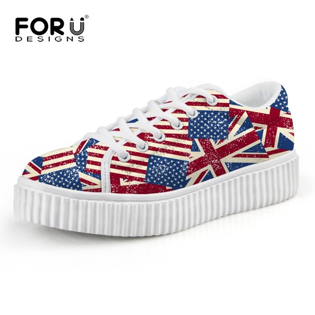 Luxury Women's Flats Shoes Casual UK USA Flag Creepers Shoes Vintage Flat Platform Shoes Thick Heel Female Chaussures Femme