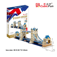 CubicFun DIY Paper Puzzle Toy Hardcover Tower Bridge 3D Puzzle Handmade Cardboard Model Educational Toys For