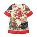 2016 Новых прибытия Богемный стиль платья Китайский Embioidery Половина рукава лето forcks Мягкой Дышащей девушки платье