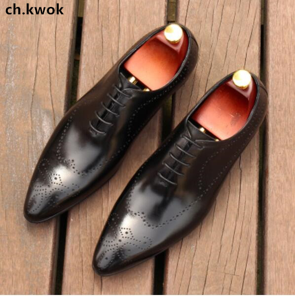 CH.KWOK British Mens Dress Oxfords Shoes Wedding Suits Leather Formal Shoes Men's Breathable Brogue Footwear Size 38-44 top quality crocodile grain black oxfords mens dress shoes genuine leather business shoes mens formal wedding shoes