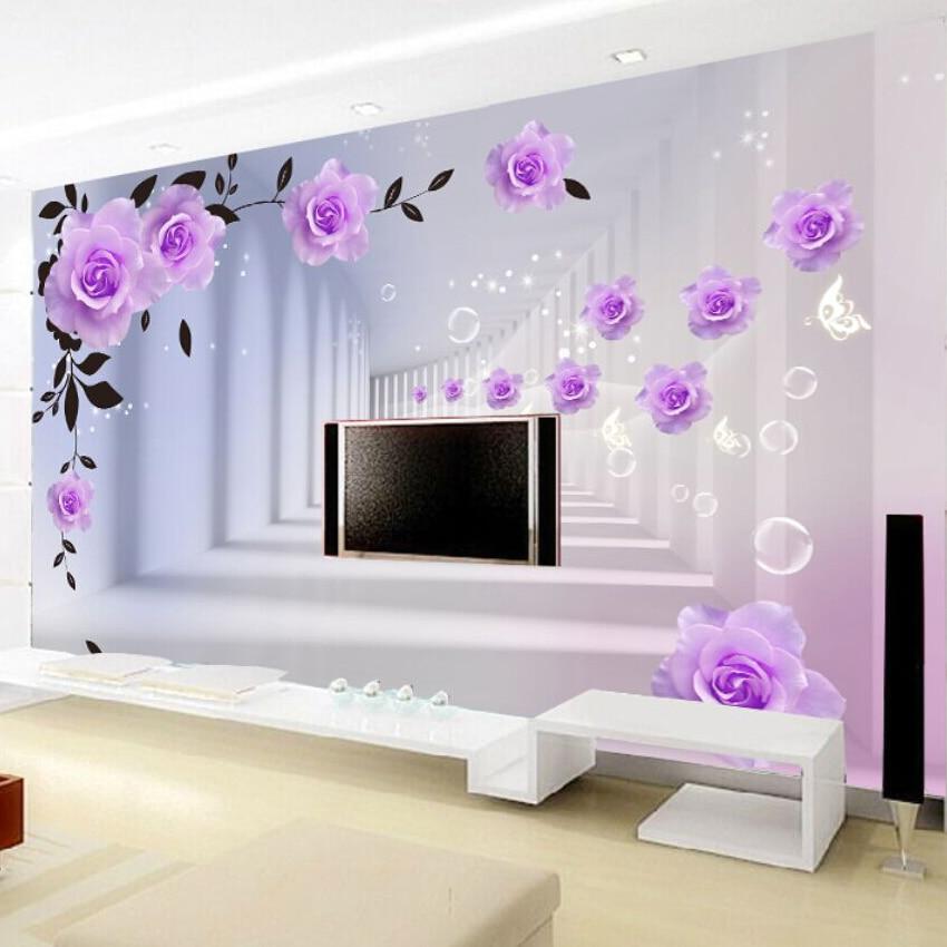 Us 8 73 53 Off Nach 3d Abstrakte Foto Tapete Europaischen Lila Rosen Flur Wohnzimmer Schlafzimmer Tv Hintergrund Wandbild Tapete Rolle In Tapeten