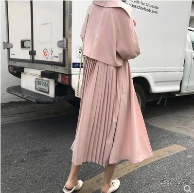 New 2019 Pink Khaki Women Pleated   Trench   Coat casual Loose Patchwork Long Windbreaker oversized Women Overcoat