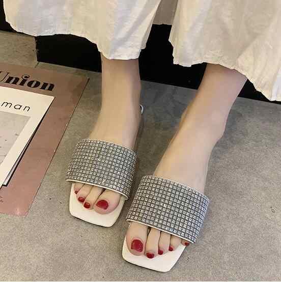 2019 sommer Neue heiße frauen schöne casual bling kristall sandalen frau schuhe mode Hausschuhe