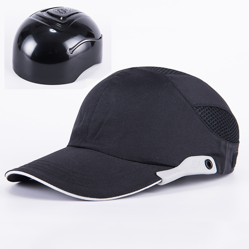 Men Black Safety Bump Cap With Reflective Stripes Lightweight and Breathable Hard Hat Head Protection Cap Сникеры