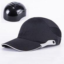 גברים שחור בטיחות כובע בליטה עם פסים רעיוני קל משקל לנשימה קשה כובע ראש הגנת כובע