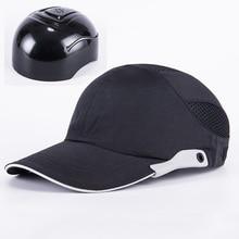 Bonnet de sécurité noir pour hommes, chapeau à rayures réfléchissantes, chapeau rigide respirant et léger, pour Protection de la tête