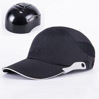 Mannen Zwart Veiligheid Bump Cap Met Reflecterende Strepen Lichtgewicht en Ademend Hard Hat Hoofdbescherming Cap