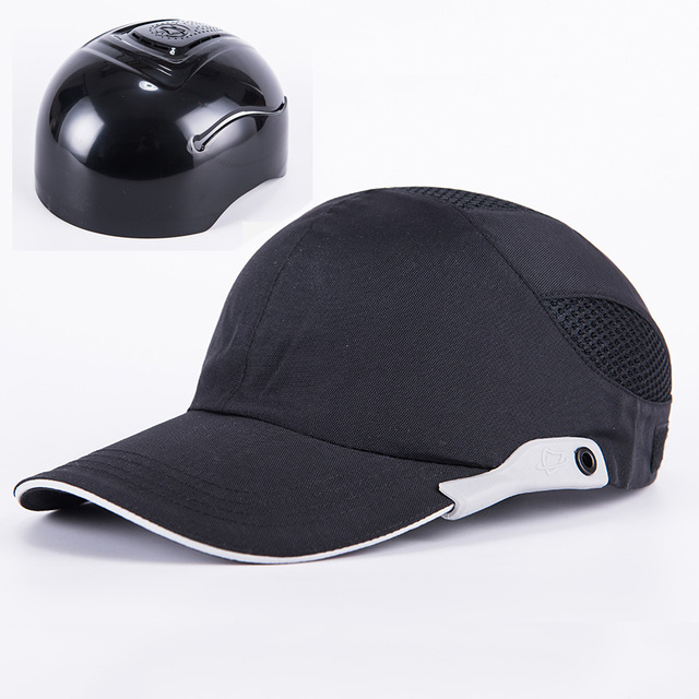 men black safety bump cap with reflective stripes lightweight and