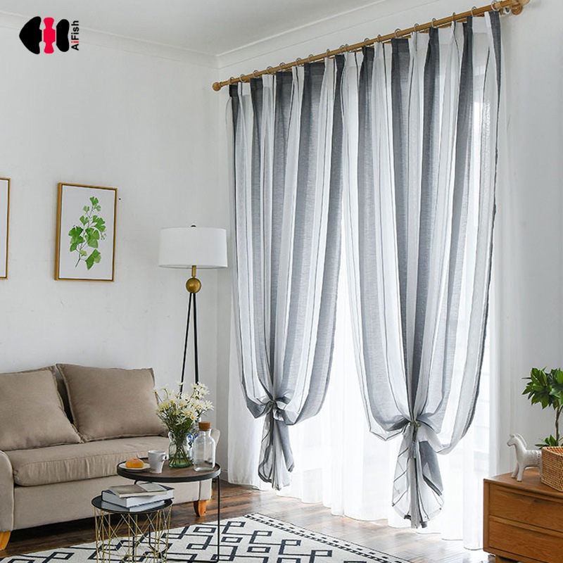Nordic Style Striped Curtains for Living Room Bedroom Black White Simple Modern Yarn Window Drapes WP155C