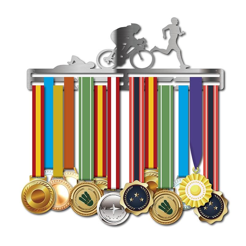 Porte-médaille de Triathlon porte-médaille en acier inoxydable porte-médaille de Sport pour la natation, la course, les médailles de cyclisme