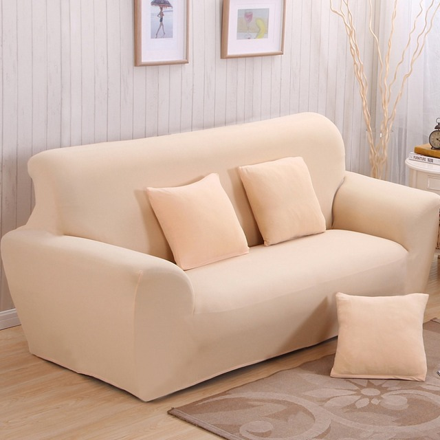 Solid Universal Sofa Covers Beige All Inclusive Sofa Dust Cover Double Seat Leather  Sofa Protective