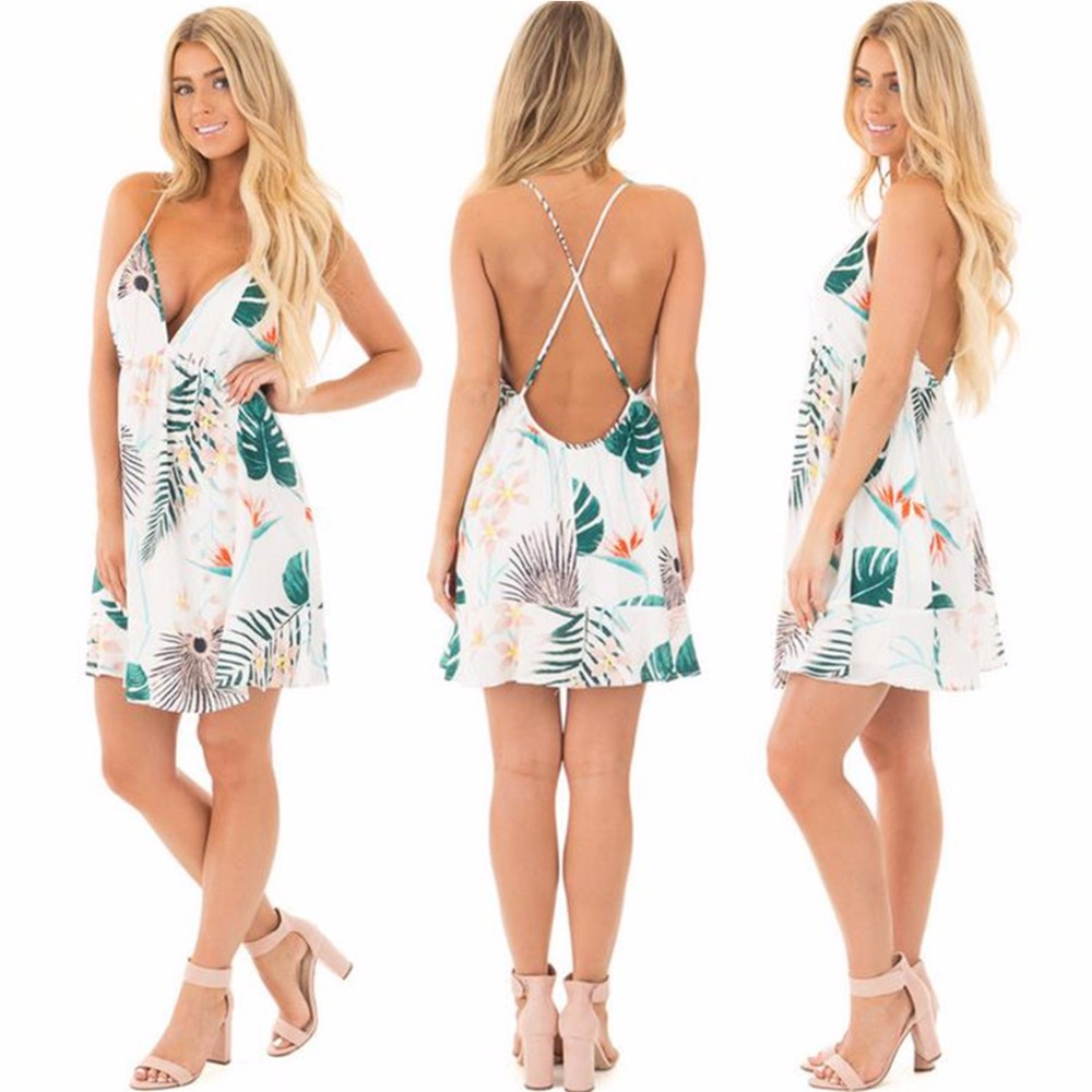 9afd077a50dde Puseky Backless Fitted Slip Dress Green Tropical Print Sexy Women Summer  Dresses 2017 Plunge Neckline Bodycon Club Party Dress-in Dresses from  Women's ...