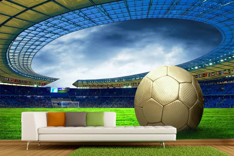 Online Shop 2014 Post free Movement of 3d Football Wallpaper Building  Renovation Room Living Bedroom Wall Painting Large Murals World Cup    Aliexpress. Online Shop 2014 Post free Movement of 3d Football Wallpaper