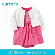 Carter's 2pcs baby children kids spring summer girl clothing 2-piece set Bodysuit Embroidery Dress & Cardigan Set 121H352