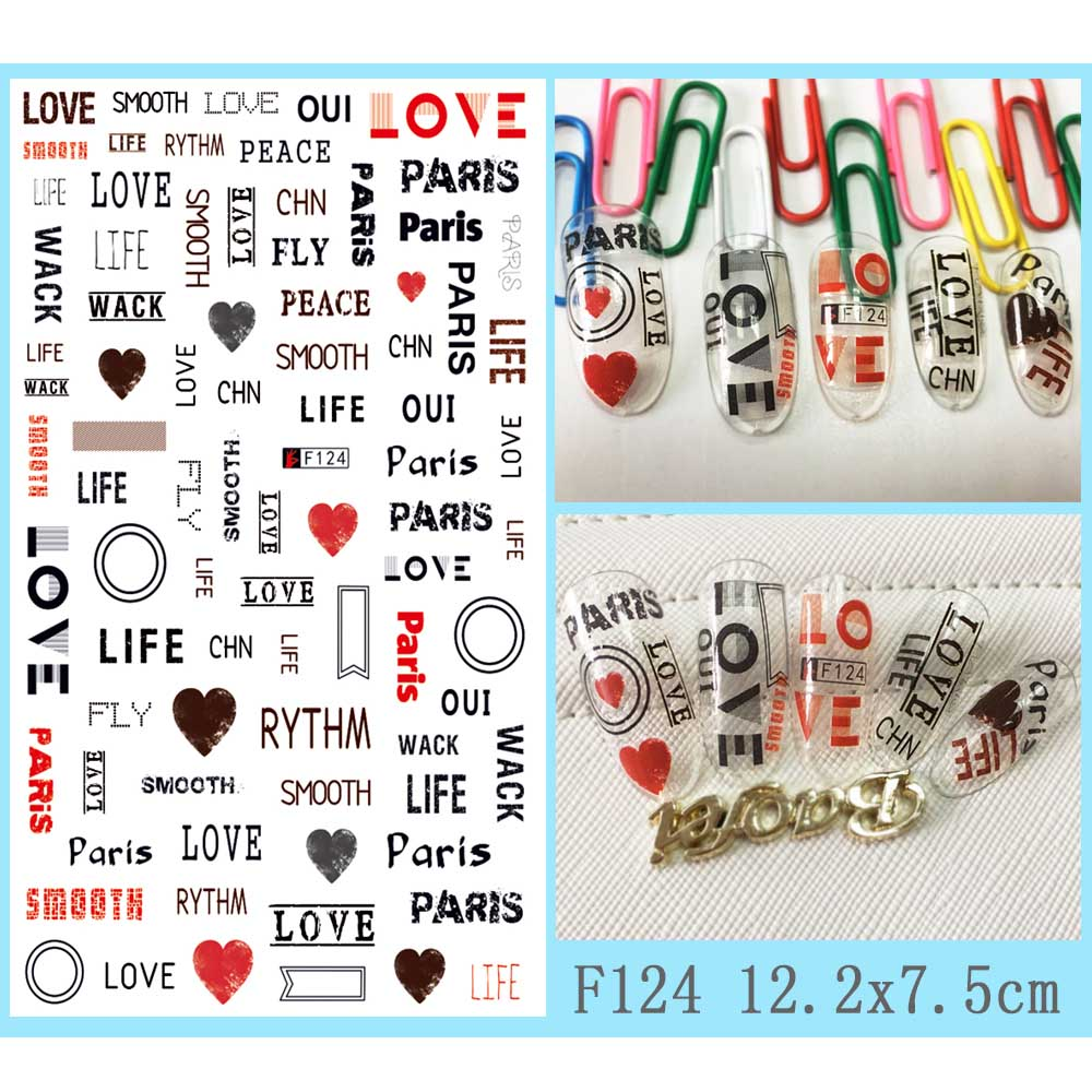 Image 5 - Hot 1 Sheet Heart Shape Letter Design 3D Decal Nail Slider Art DIY Decorations Sticker for Manicure DIY Adhesive Tips BEF174-in Stickers & Decals from Beauty & Health