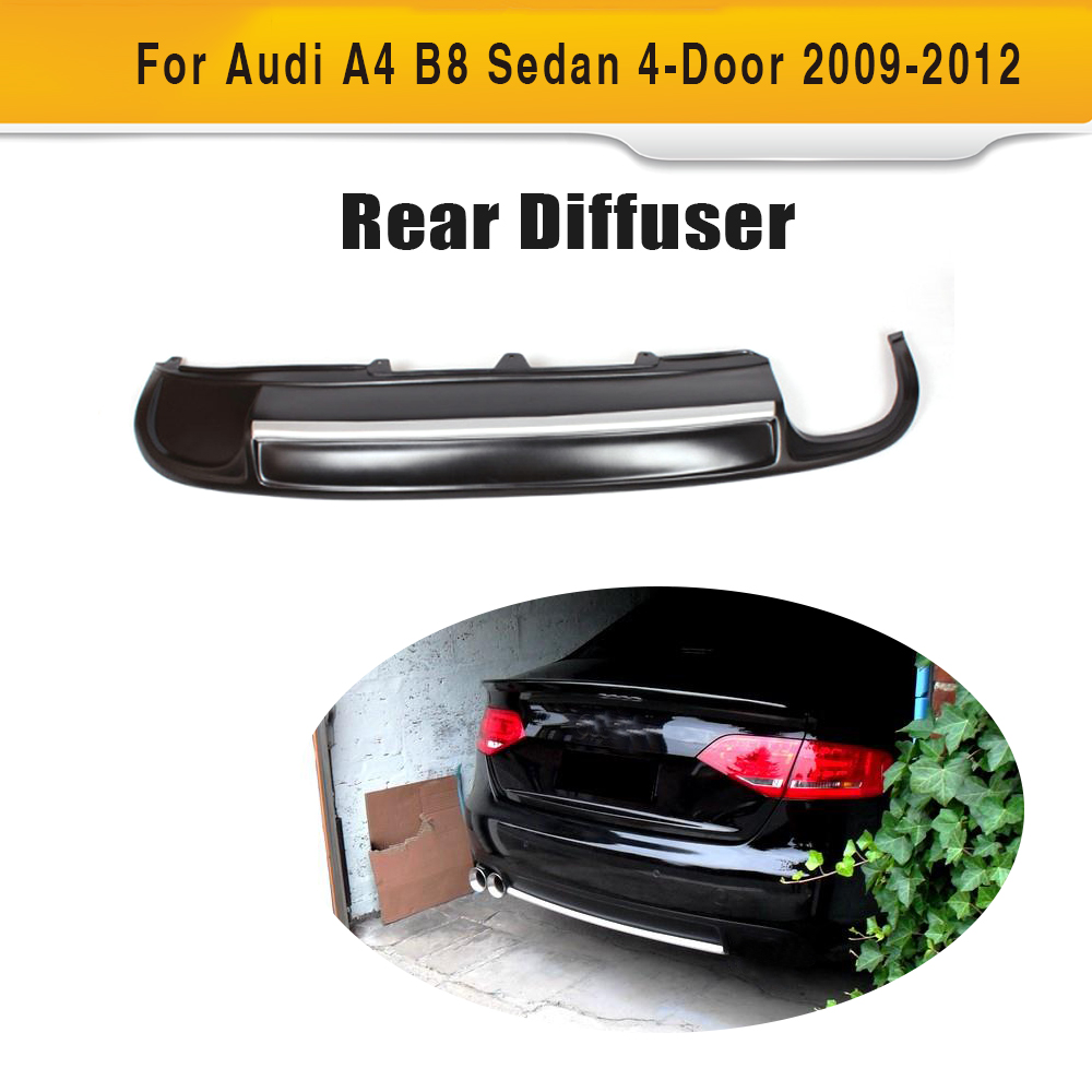 PU Car rear bumper lip spoiler diffuser With Exhaust for Audi A4 B8 Standard Sedan 4 Door Only 09-12 Single exhaust two out styling pu car auto rear diffuser lip spoiler for audi a4 b8 standard bumper only 2009 2012