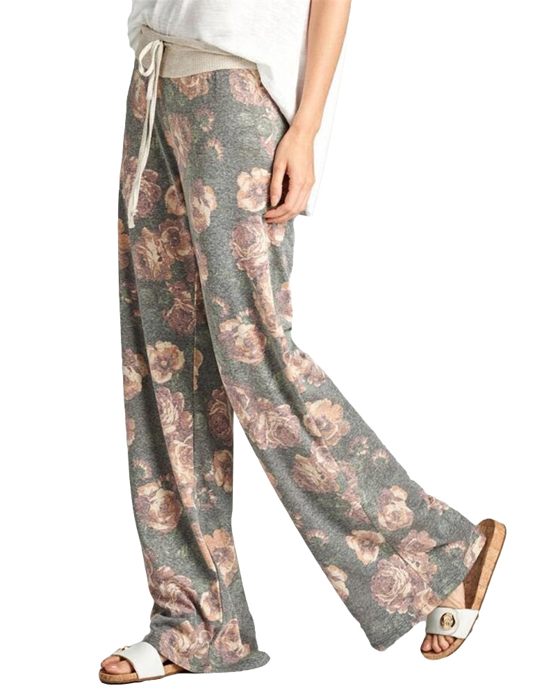 Women Casual Loose Boho   Pants   Floral Star Striped Print US Flag High Elastic Waist Long Trousers   Wide     Leg     Pants   Pantalon Mujer
