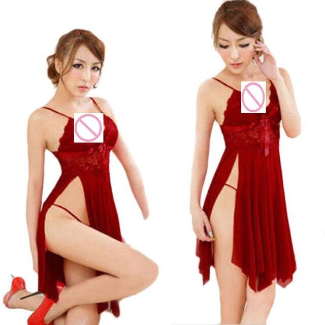 cfd952eb94ba0 Sexy Lingerie Hot Erotic Women Sexy Underwear Sleepwear Lace Dress G-string  Nightwear Sexy lingerie costumes Robe Lenceria sexy