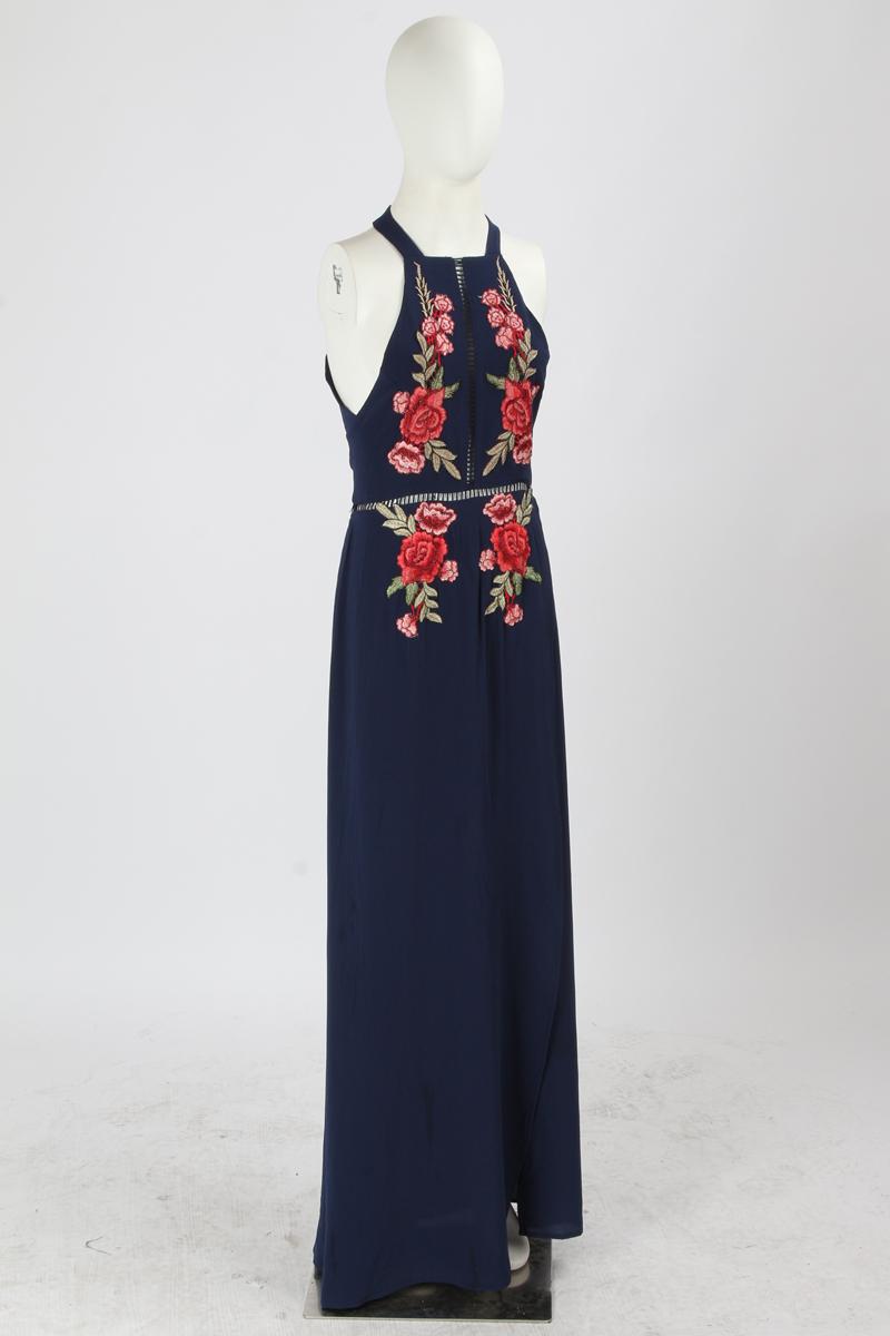 BONGOR LUSS Summer Women Maxi Dress 2017 Halter Sleeveless Front Split Sexy Backless Long Party Dress Embroidery Beach Dress (9)
