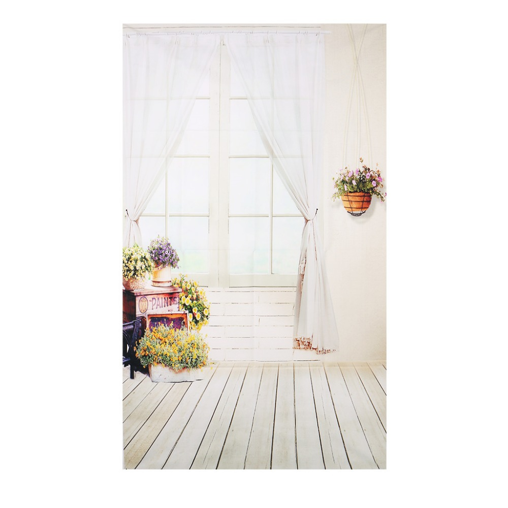 3x5FT Window Curtain Flower Studio Photography Backdrops Photo Background Props