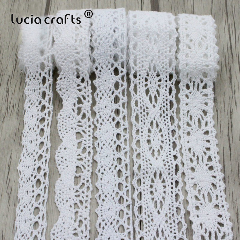 Lucia Crafts 2yards/lot White Cotton Lace Fabric Embroidered Net Lace Trim Ribbons Handcrafts Sewing DIY Decoration N0203