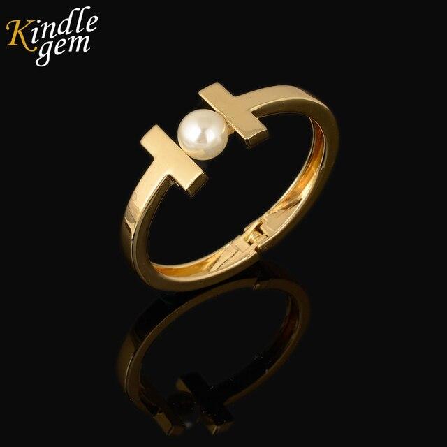 6dbbbd849112 Dubai Oro color H Cuff Bangles Amor Pulseras de Perlas Para Las Mujeres  Chica Joyas Femme