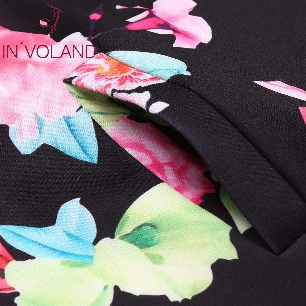 IN'VOLAND Plus Size Women Short Jacket Coat L-4XL Autumn Slim Turn Down Collar Print Large Coat Bomber Tops Outerwear Big Size 4