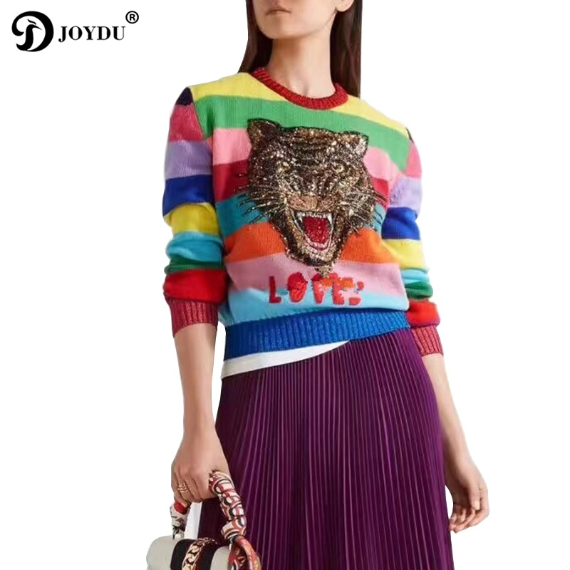 Cute Wool Pullover 2018 Designer Winter Sweater Women Tiger Head Embroidery Sequins Rainbow Stripe Knit Tops Color Block Jumper