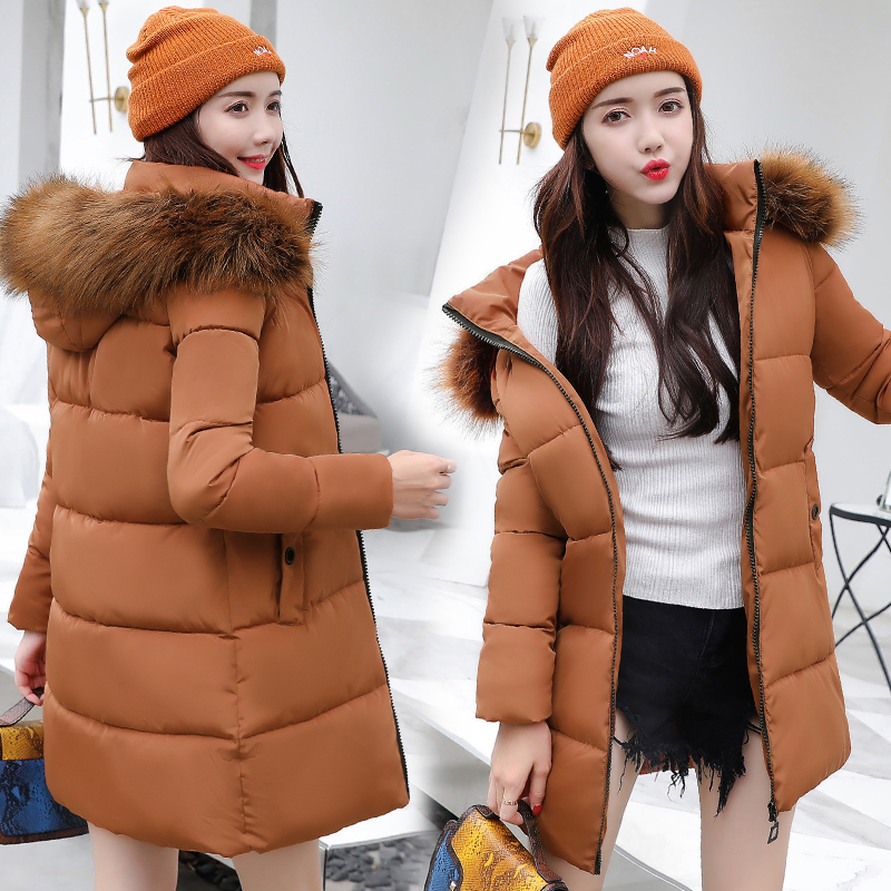 bre New 2018 Big Fur Collar Winter Jacket Women Long Thicken   Parkas   Warm Down Cotton Hooded Winter Coat Women Clothing