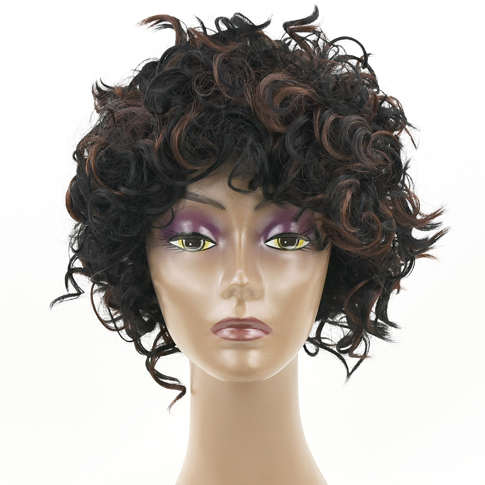 Soowee Short Curly Synthetic Hair Black Mix Brown Wigs Party Hair Cosplay Wig for Women and Men Headwear Hair Accessories