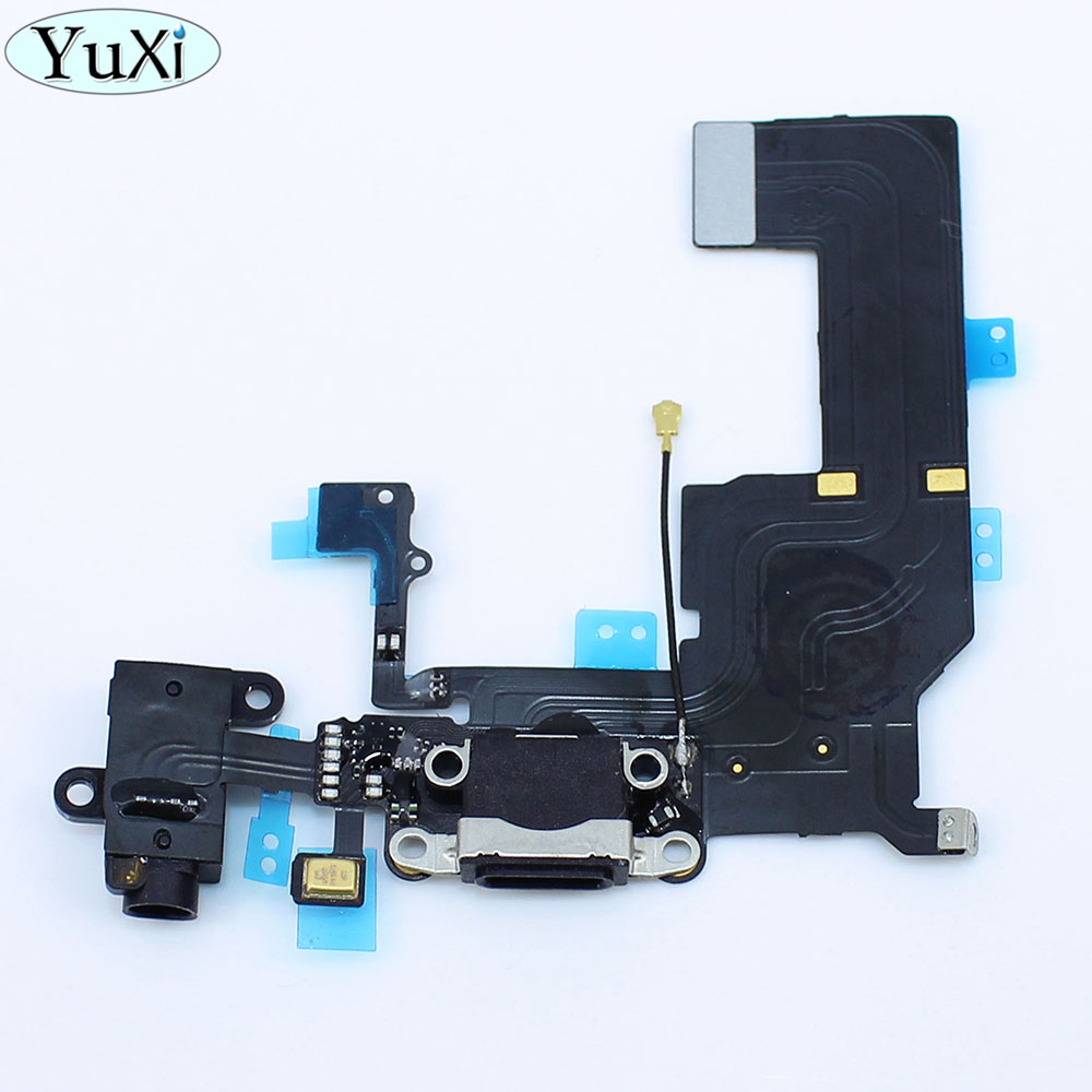 YuXi 1X Charging Dock Port USB Charger Port and Headphone Jack with Microphone Flex Cable for iPhone 5C Black Replacement Parts