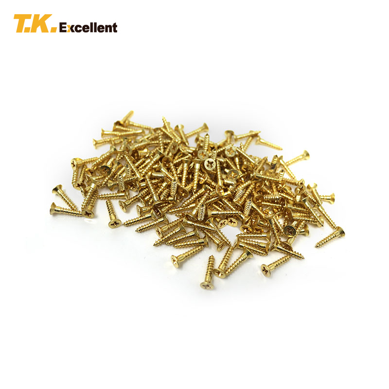 T.K.Excellent 200 Pcs Countersunk Cross Wood Screw Copper Home Decoration Hardware Fastener Tools Flat Head Wood Screws t k excellent 2000 pcs fibreboard screws kit flat head q1022 cks head pozi chipboard hardware fastener tools home decoration